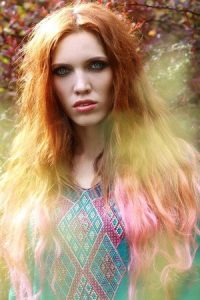 cool hair colour with boho wavy hairstyle