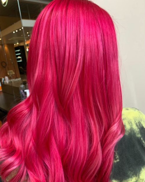 VIBRANT PINK HAIR COLOUR SHEFFIELD HAIRDRESSERS
